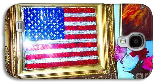 Beadwork Jewelry Galaxy S4 Cases - American flag sequined beaded in gold frame Galaxy S4 Case by Sofia Metal Queen