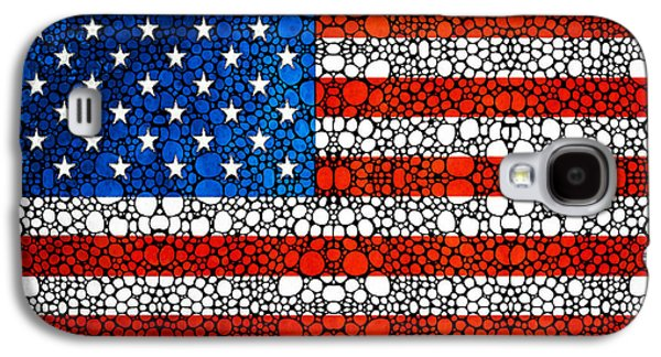 American Flag - Usa Stone Rock'd Art United States Of America Galaxy S4 Case by Sharon Cummings