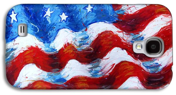 Independance Day Mixed Media Galaxy S4 Cases - American Flag Galaxy S4 Case by Venus