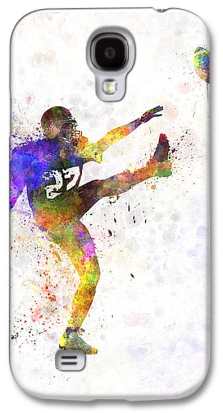 American Football Paintings Galaxy S4 Cases - American Football Player Man Kicker Kicking Galaxy S4 Case by Pablo Romero