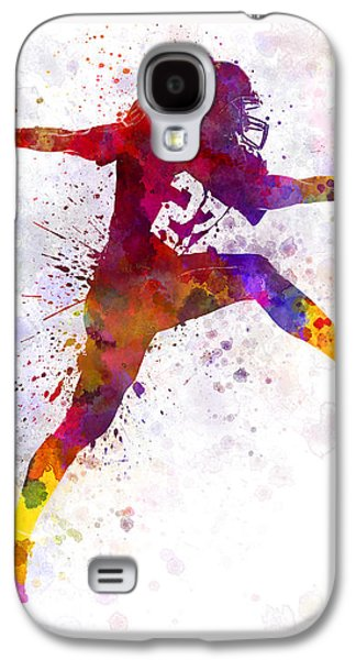American Football Paintings Galaxy S4 Cases - American Football Player Man Scoring Touchdown Galaxy S4 Case by Pablo Romero