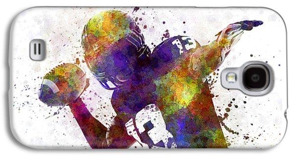 American Football Player Quarterback Passing Portrait Silhouette Galaxy S4 Case by Pablo Romero