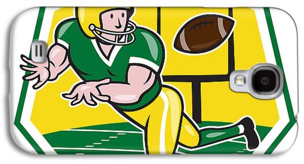 Wide Receiver Galaxy S4 Cases - American Football Wide Receiver Catching Ball Cartoon Galaxy S4 Case by Aloysius Patrimonio