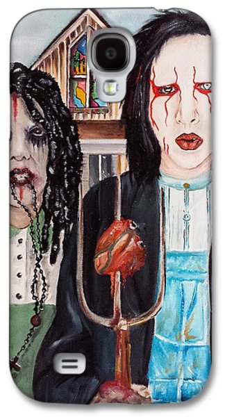Twiggy Paintings Galaxy S4 Cases - American Goth Galaxy S4 Case by S G Williams