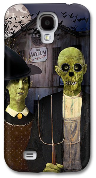 The Haunted House Galaxy S4 Cases - American Gothic Halloween Galaxy S4 Case by Gravityx Designs