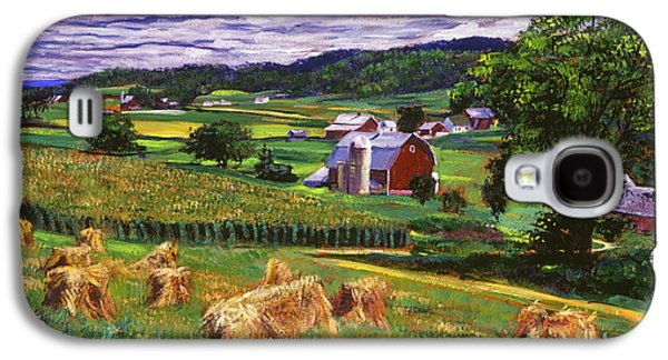 Hay Paintings Galaxy S4 Cases - American Heartland Galaxy S4 Case by David Lloyd Glover