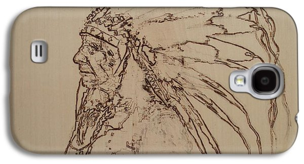 Americans Pyrography Galaxy S4 Cases - American Horse - Oglala Sioux Chief - 1880 Galaxy S4 Case by Sean Connolly