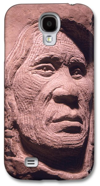 Native Sculptures Galaxy S4 Cases - American-Indian-Portrait-1 Galaxy S4 Case by Gordon Punt