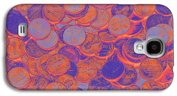 Investment Galaxy S4 Cases - American pennies Pop Art Galaxy S4 Case by Keith Webber Jr