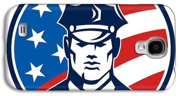 Policeman Galaxy S4 Cases - American Policeman Security Guard Retro Galaxy S4 Case by Aloysius Patrimonio