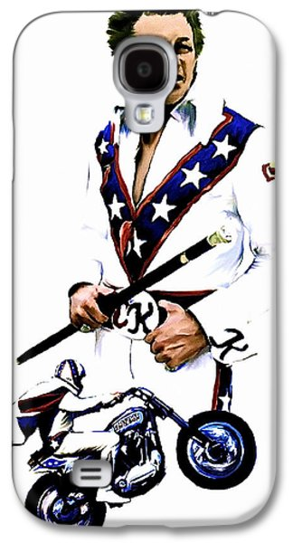 Photo Drawings Galaxy S4 Cases - American Roulette V  Evel Knievel Galaxy S4 Case by Iconic Images Art Gallery David Pucciarelli