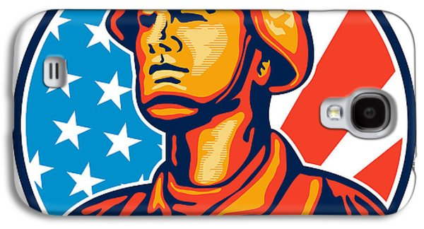Americans Galaxy S4 Cases - American Serviceman Soldier Flag Retro Galaxy S4 Case by Aloysius Patrimonio