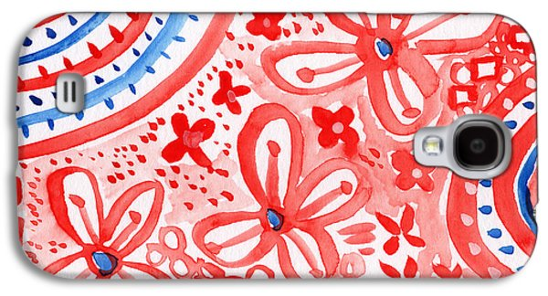 Red Mixed Media Galaxy S4 Cases - Americana Celebration- painting Galaxy S4 Case by Linda Woods