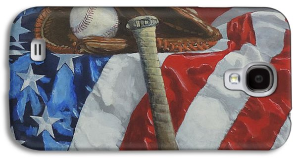 Baseball Glove Paintings Galaxy S4 Cases - Americas Game Galaxy S4 Case by Bill Tomsa