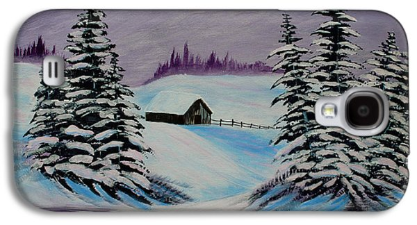 Bob Ross Paintings Galaxy S4 Cases - Amethyst Evening after Ross Galaxy S4 Case by Barbara Griffin