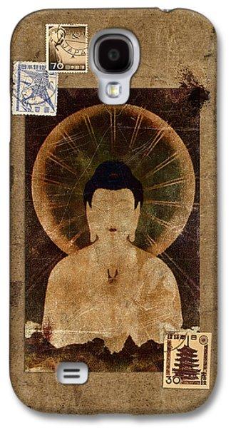 Cardboard Galaxy S4 Cases - Amida Buddha Postcard Collage Galaxy S4 Case by Carol Leigh