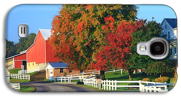 Old Country Roads Photographs Galaxy S4 Cases - Amish Barn In Autumn Galaxy S4 Case by Dan Sproul