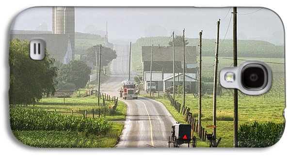 Amish Photographs Galaxy S4 Cases - Amish Buggy confronts the Modern World Galaxy S4 Case by Randall Nyhof