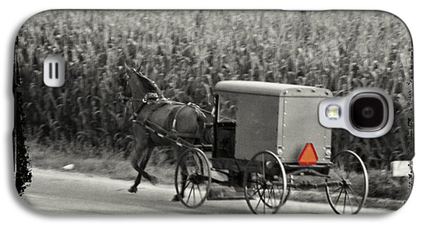 Horse And Cart Digital Art Galaxy S4 Cases - Amish Buggy Monochrome Galaxy S4 Case by Terry Weaver