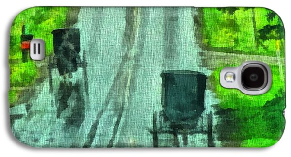 Horse And Buggy Paintings Galaxy S4 Cases - Amish Buggy Traffic Galaxy S4 Case by Dan Sproul