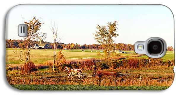 Amish Farmer Plowing A Field, Usa Galaxy S4 Case by Panoramic Images