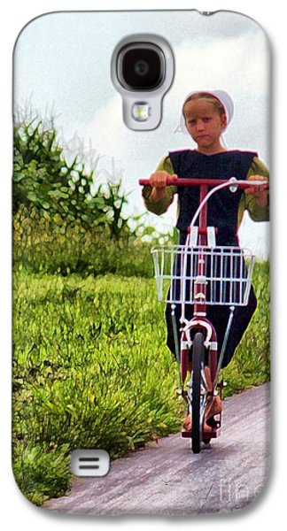 Amish Photographs Galaxy S4 Cases - Amish Girl Scooting in Lancaster Pennsylvania USA Galaxy S4 Case by Polly Peacock