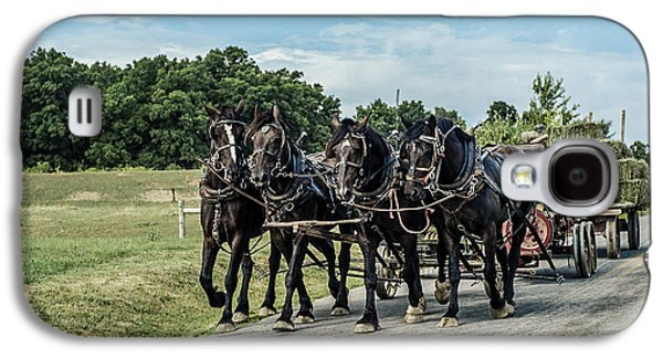 Amish Photographs Galaxy S4 Cases - Amish Hay Wagon Galaxy S4 Case by Mary Beth D