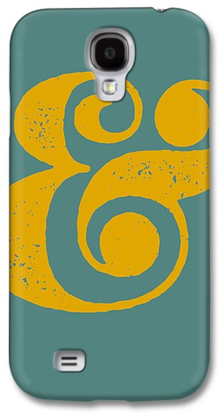 Fun Digital Galaxy S4 Cases - Ampersand Poster Blue and Yellow Galaxy S4 Case by Naxart Studio