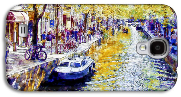 The Trees Mixed Media Galaxy S4 Cases - Amsterdam Canal watercolor Galaxy S4 Case by Marian Voicu