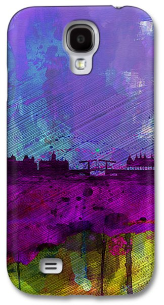 European City Digital Art Galaxy S4 Cases - Amsterdam Watercolor Skyline Galaxy S4 Case by Naxart Studio