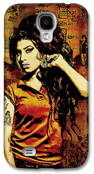 Girls Mixed Media Galaxy S4 Cases - Amy Winehouse 24x36 MM Reg Galaxy S4 Case by Dancin Artworks