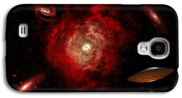 Intergalactic Space Galaxy S4 Cases - An Alien Flying Saucer Traveling Galaxy S4 Case by Stocktrek Images