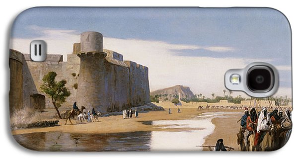 Gerome Galaxy S4 Cases - An Arab Caravan outside a Fortified Town Galaxy S4 Case by Jean Leon Gerome