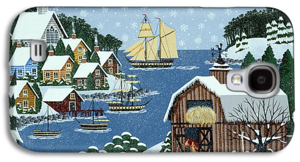 New England Snow Scene Paintings Galaxy S4 Cases - An End to Practice Galaxy S4 Case by Merry  Kohn Buvia