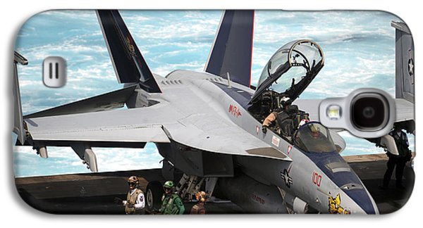 Enterprise Galaxy S4 Cases - An Fa-18f Super Hornet Sits Galaxy S4 Case by Stocktrek Images