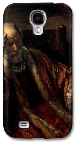 Thinking Galaxy S4 Cases - An Old Man In An Armchair Oil On Canvas Galaxy S4 Case by Rembrandt Harmensz. van Rijn