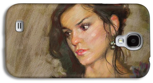 Girl Pastels Galaxy S4 Cases - Ana with an Earring Galaxy S4 Case by Ylli Haruni