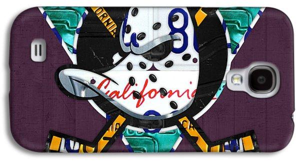 Hockey Mixed Media Galaxy S4 Cases - Anaheim Ducks Hockey Team Retro Logo Vintage Recycled California License Plate Art Galaxy S4 Case by Design Turnpike
