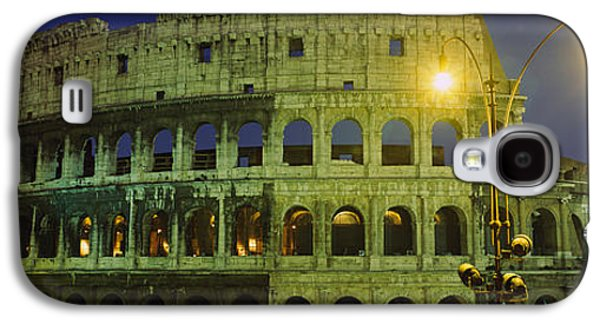 Ancient Civilization Galaxy S4 Cases - Ancient Building Lit Up At Night Galaxy S4 Case by Panoramic Images