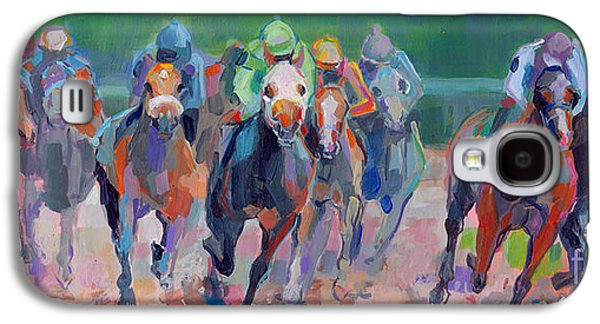 Jockeys Galaxy S4 Cases - And Down the Stretch They Com Galaxy S4 Case by Kimberly Santini