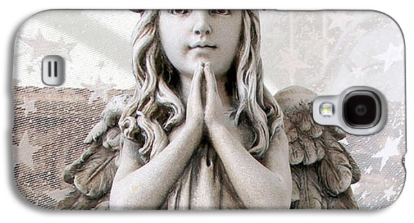 Praying Hands Galaxy S4 Cases - Angel Girl Praying - Christian Angel Art - Little Girl Praying Angel Art - God Answers Prayers Galaxy S4 Case by Kathy Fornal