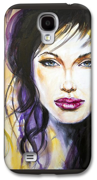 Abstracted Galaxy S4 Cases - Angelina Jolie Galaxy S4 Case by Ira Ivanova
