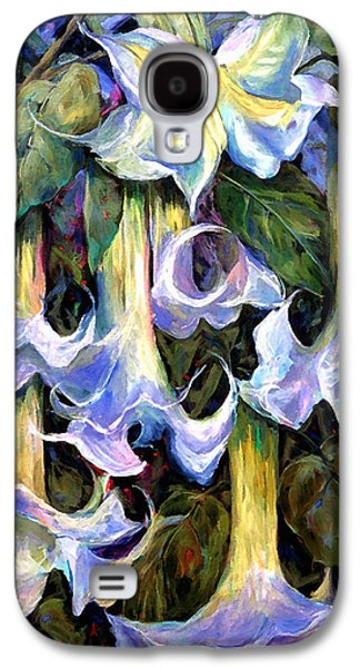 Painter Mixed Media Galaxy S4 Cases - Angels Trumpets - Floral Art By Betty Cummings Galaxy S4 Case by Betty Cummings