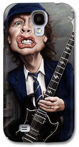 Busts Galaxy S4 Cases - Angus Young Galaxy S4 Case by Andre Koekemoer