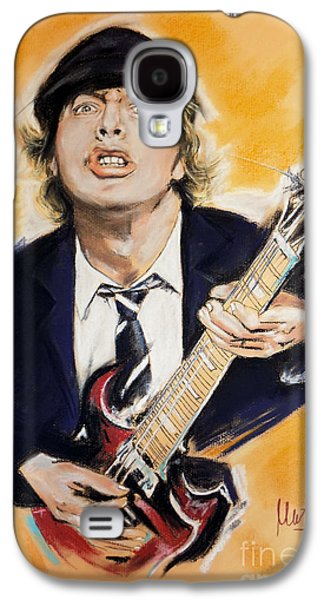Celebrities Pastels Galaxy S4 Cases - Angus Young Galaxy S4 Case by Melanie D