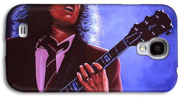 Young Paintings Galaxy S4 Cases - Angus Young of AC / DC Galaxy S4 Case by Paul Meijering