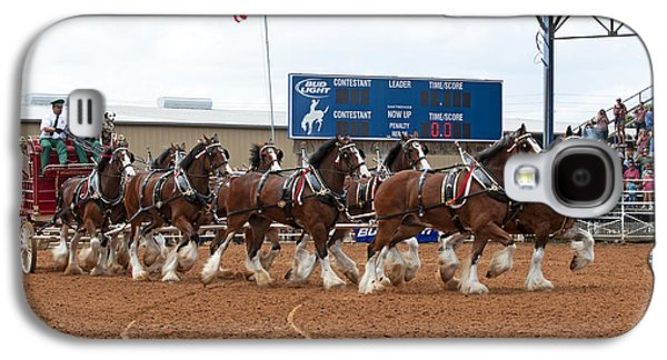 Dog Trots Galaxy S4 Cases - Anheuser Busch Clydesdales Pulling a Beer Wagon USA Rodeo Galaxy S4 Case by Sally Rockefeller