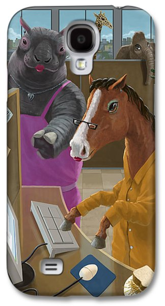Hippopotamus Digital Galaxy S4 Cases - Animal Office Galaxy S4 Case by Martin Davey