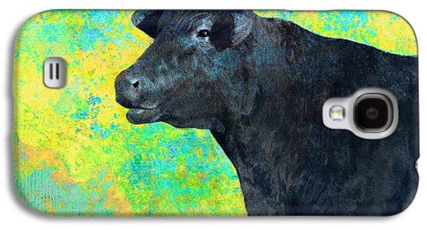 Black Angus Galaxy S4 Cases - Animals Cow Black Angus  Galaxy S4 Case by Ann Powell