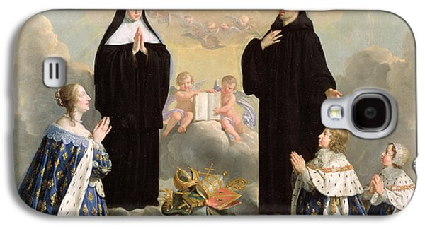 Praying Hands Galaxy S4 Cases - Anne Of Austria 1601-66 And Her Children At Prayer With St. Benedict And St. Scholastica, 1646 Oil Galaxy S4 Case by Philippe de Champaigne